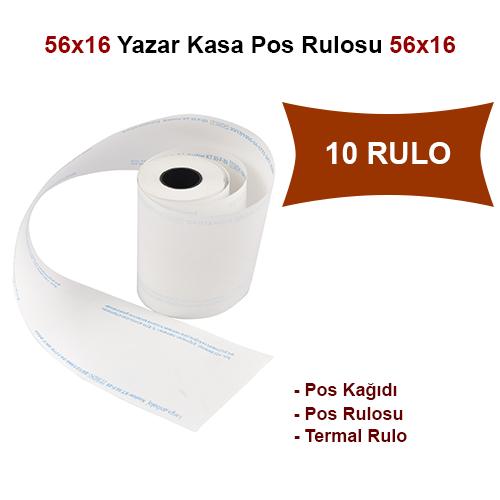 56x16 Pos Kağıdı,Pos Rulosu,Termal Rulo 10 Rulo