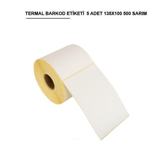 135 x 100 TERMAL BARKOD ETİKETİ (500) SARIM 5 RULO