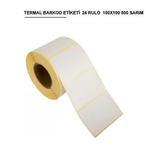 100x100 TERMAL BARKOD ETİKETİ (500) SARIM 24 RULO