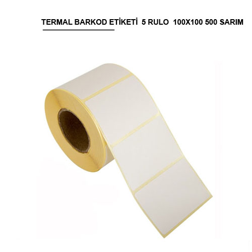 100x100 TERMAL BARKOD ETİKETİ (500) SARIM 5 RULO